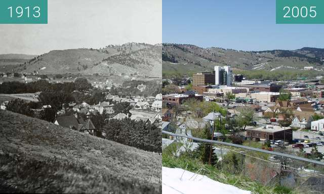Before-and-after picture of Rapid City, probably before 1913 between 1913 and 2005-May-13