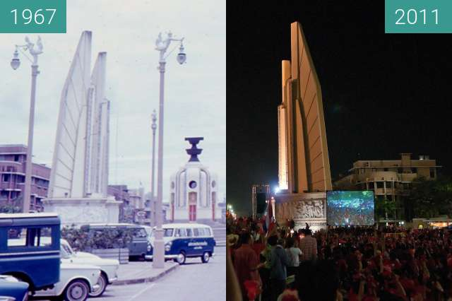 Before-and-after picture of Democracy Monument in Bangkok between 1967-May-25 and 2011-Feb-13