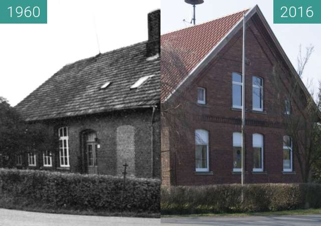 Before-and-after picture of Alte evangelische Schule in Ohrbeck between 1960 and 2016-Mar-08