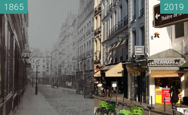 Before-and-after picture of Rue de la Harpe between 1865 and 2019-Feb-21