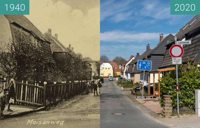 Before-and-after picture of Meisenweg between 07/1940 and 03/2020