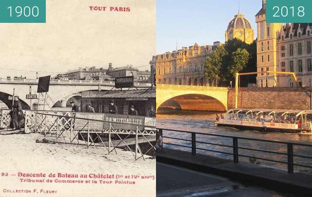 Before-and-after picture of Tribunal du Commerce between 1900 and 2018-Jun-26