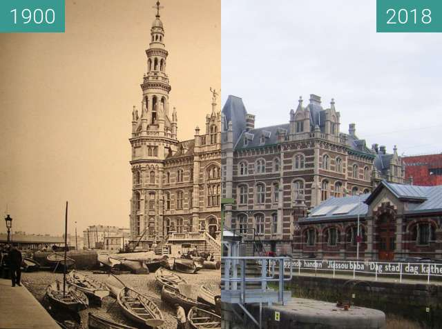 Before-and-after picture of Loodsgebouw/Margueriedok between 1900 and 2018-Apr-02