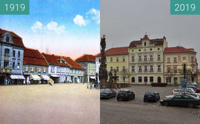 Before-and-after picture of Duchcov náměstí between 1919 and 2019-Nov-21