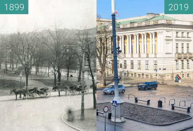 Before-and-after picture of Plac Wolności z hotelu Bazar between 1899 and 2019-Feb-16