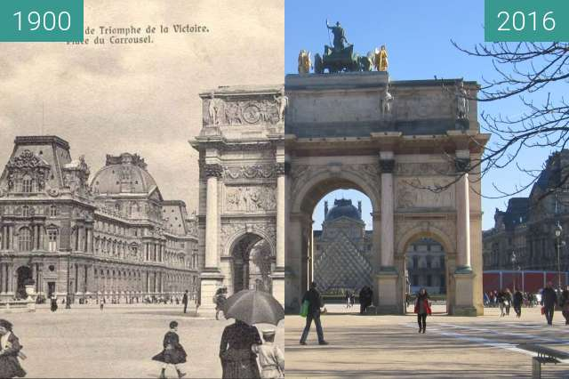 Before-and-after picture of Louvre, Arc de Triomphe du Carousel between 1900 and 2016-Feb-16