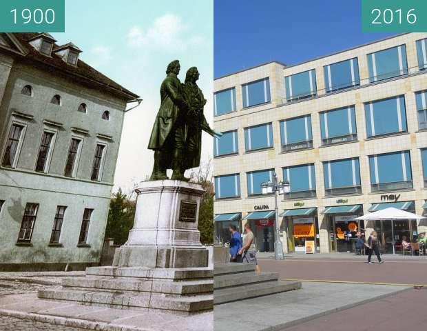 Vorher-Nachher-Bild von Goethe-Schiller-Denkmal zwischen 1900 und 18.08.2016