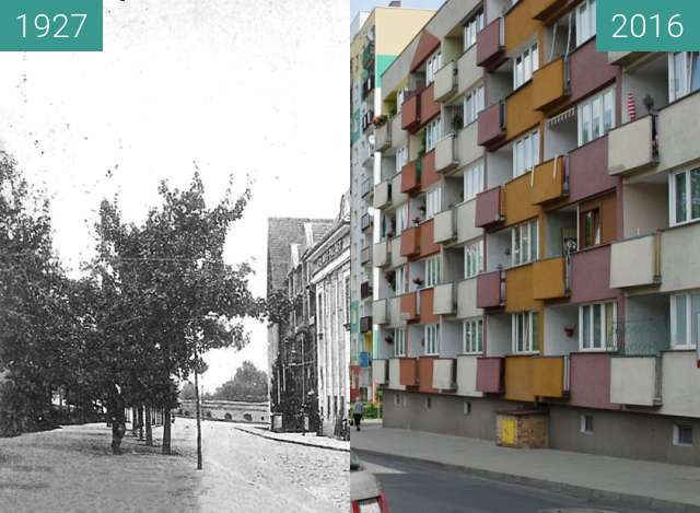 Before-and-after picture of Konig Friedrich Platz; Primus-Palast between 1927 and 2016