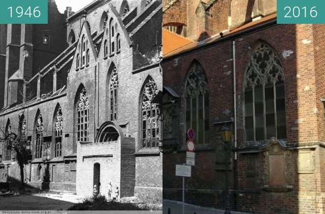 Before-and-after picture of Wroclaw Cathedral between 1946 and 2016