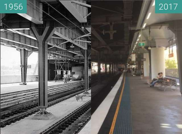 Before-and-after picture of Circular Quay Railway Station between 1956 and 2017
