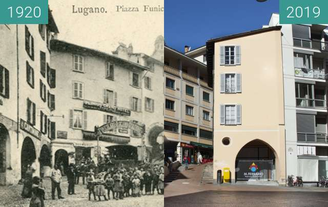 Before-and-after picture of Piazza Cioccaro between 1920 and 03/2019