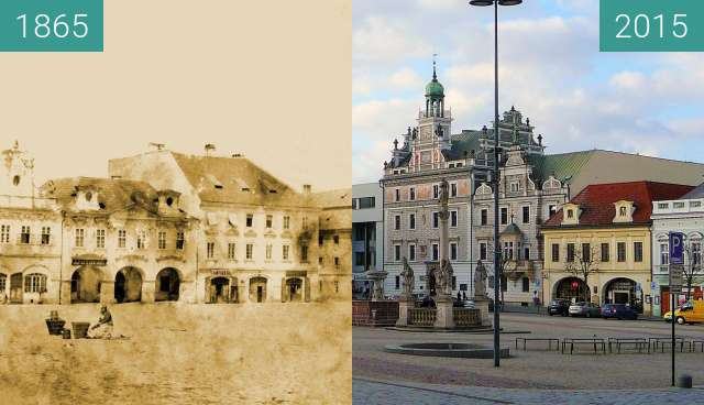 Before-and-after picture of Kolín. between 1865 and 2015-Mar-11