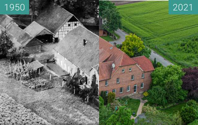 Before-and-after picture of Hof Börger in Glandorf-Averfehrden between 1950 and 2021-Jun-04