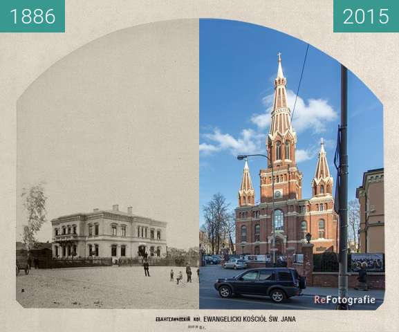 Before-and-after picture of St. John's evangelical church between 1886 and 2015