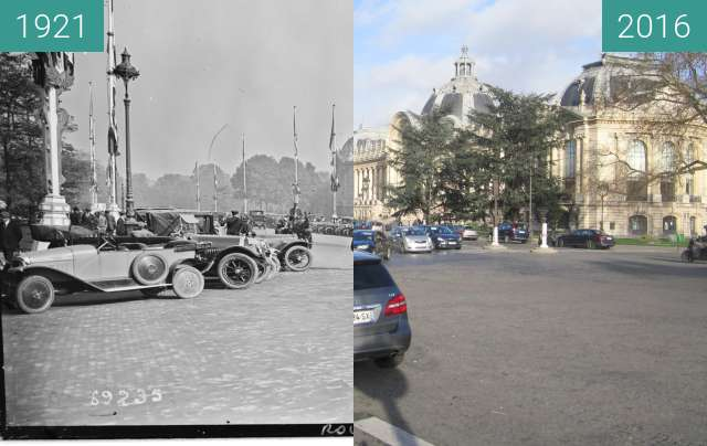 Before-and-after picture of Petit Palais between 1921-Oct-05 and 2016-Jan-04