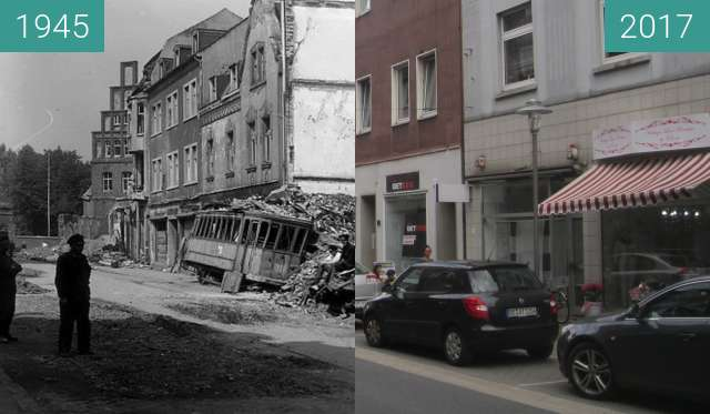 Before-and-after picture of Rentforter Straße between 1945 and 2017-Jul-11