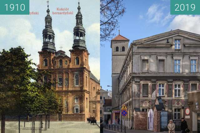 Before-and-after picture of Ulica Długa between 1910 and 2019-Dec-10