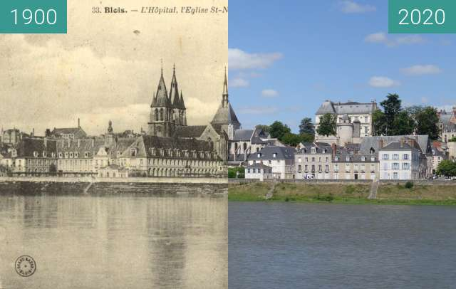 Before-and-after picture of Blois from the Loire between 1900 and 06/2020