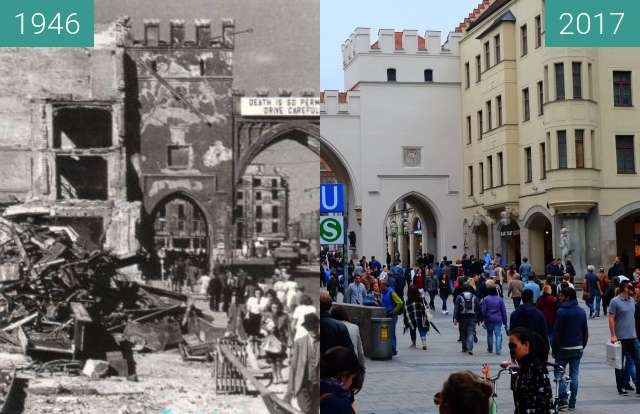 Before-and-after picture of Karlstor in München (4) between 1946 and 2017-Sep-09