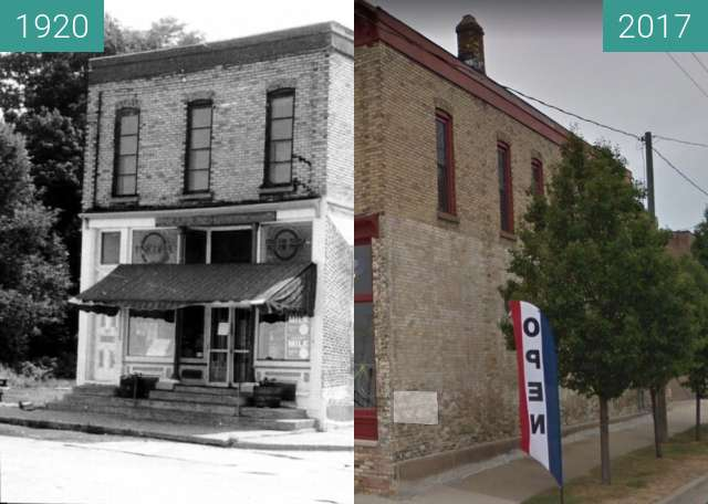 Before-and-after picture of East Clay Avenue shop: Muskeogon, Michigan between 1920 and 10/2017