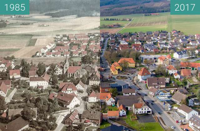 Before-and-after picture of Hilter Zentrum between 1985 and 2017-Mar-13