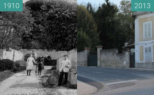 Before-and-after picture of Monument Louis Braille between 1910 and 2013-Oct-30