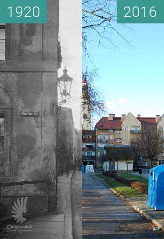 Before-and-after picture of Rosenstrasse between 1920 and 2016