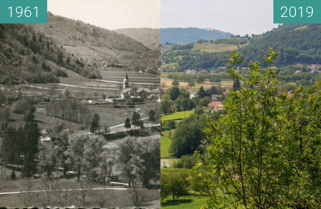 Before-and-after picture of Le village depuis Pied Barlet between 1961 and 2019-Jun-18