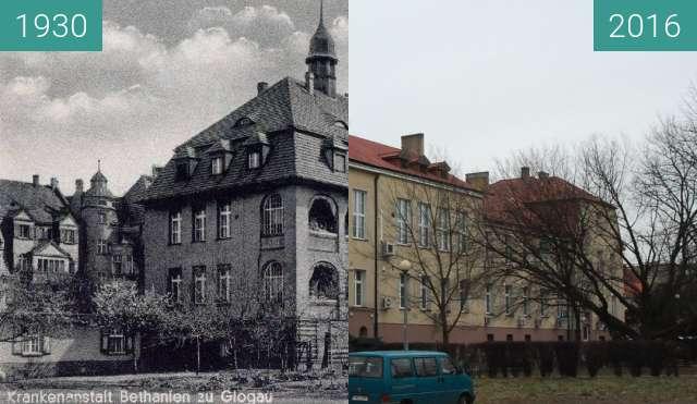 Before-and-after picture of Bethanien's Hospital  between 1930 and 2016