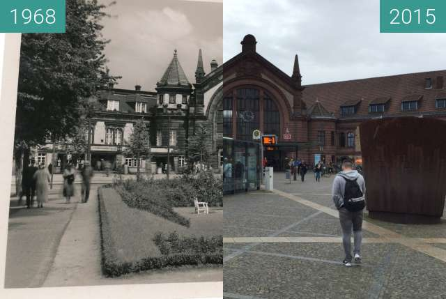Before-and-after picture of Bahnhof Osnabrück between 1968 and 2015
