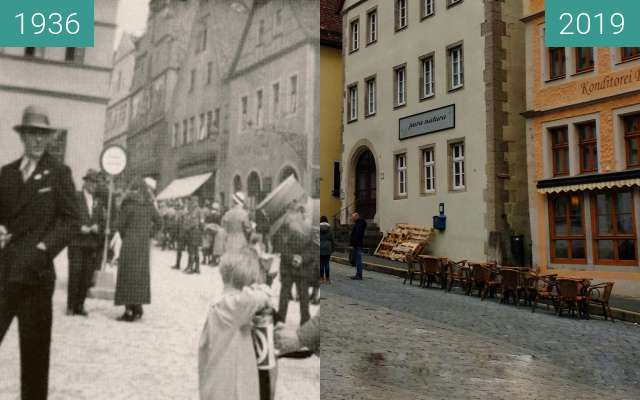 Before-and-after picture of Straßensammlung in Rothenburg between 1936 and 2019-Feb-22