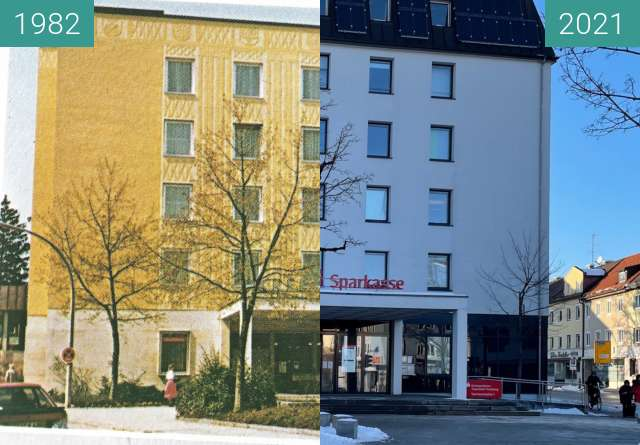 Before-and-after picture of Sparkassenplatz 1 Traunstein between 1982 and 2021-Jan-15