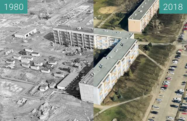 Before-and-after picture of Osiedle Sobieskiego between 1980 and 2018