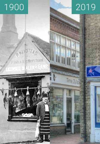Before-and-after picture of P. Newstead - Fish Merchant between 1900 and 2019-Jun-20