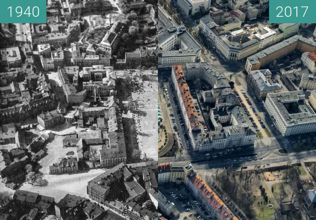 Before-and-after picture of Plac Wielkopolski i okolice between 1940 and 2017