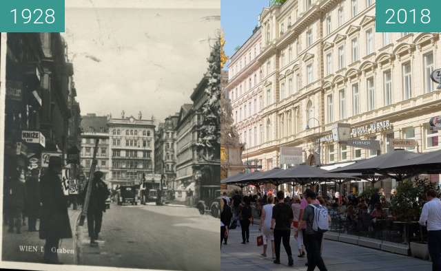 Before-and-after picture of Graben in Wien between 1928 and 2018-Apr-30