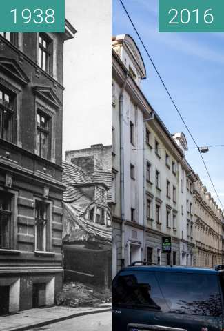 Before-and-after picture of Ulica Za Bramką between 1938 and 2016