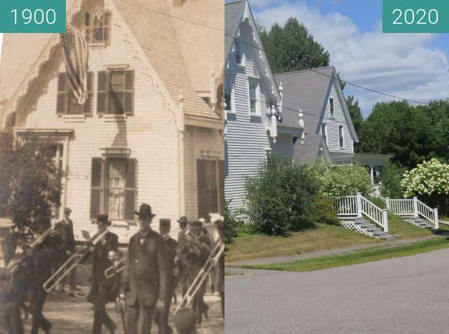 Before-and-after picture of Cedar and Grove Streets Belfast, Maine between 1900 and 2020-Aug-17