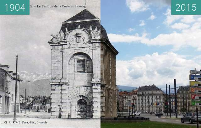 Before-and-after picture of Grenoble | Porte de France (1904) between 1904 and 2015
