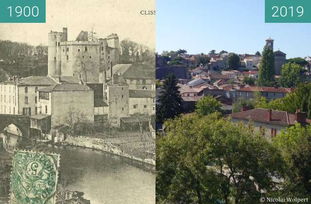 Before-and-after picture of Clisson between 1900 and 2019