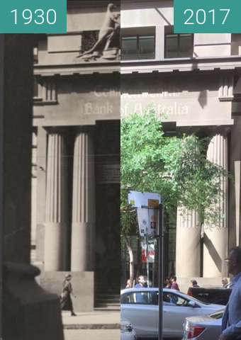 Before-and-after picture of Commonwealth Bank Building between 1930 and 2017