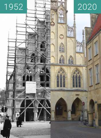 Before-and-after picture of Town Hall Münster between 10/1952 and 05/2020