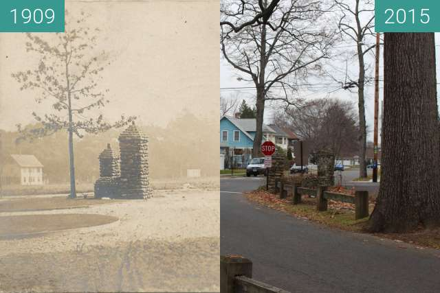 Before-and-after picture of Wilcox park Milford, Ct. between 1909 and 2015