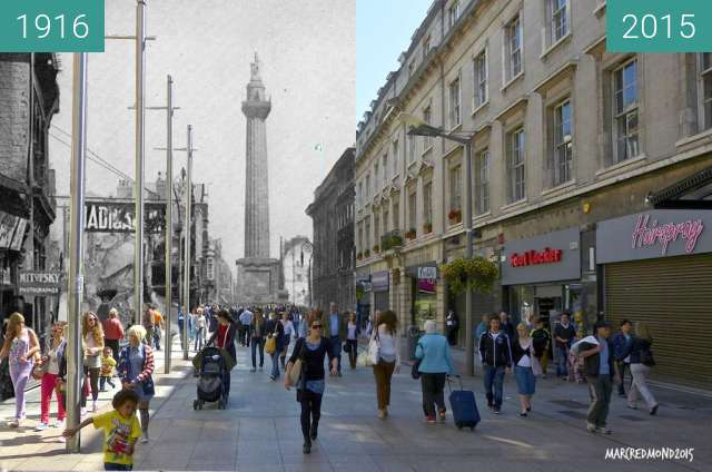 Before-and-after picture of Henry Street Dublin 1916 - 2015 between 04/1916 and 2015
