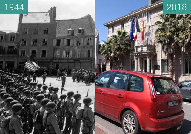 Before-and-after picture of Cherbourg 1944 - Normandy between 1944-Jun-27 and 2018-May-05