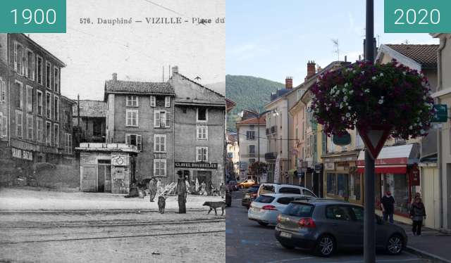 Before-and-after picture of Place du Chateau between 1900 and 08/2020