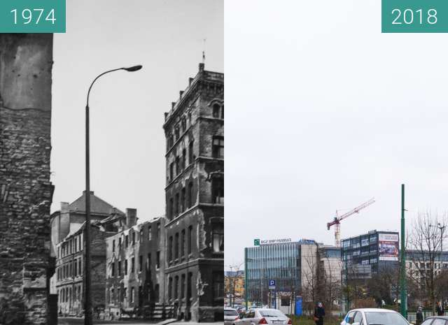 Before-and-after picture of Ulica Stawna between 1974 and 2018-Mar-15