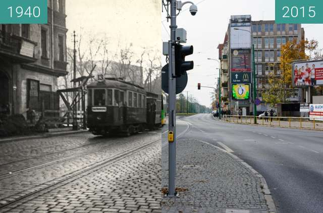 Before-and-after picture of Ulica Grunwaldzka between 1940 and 2015