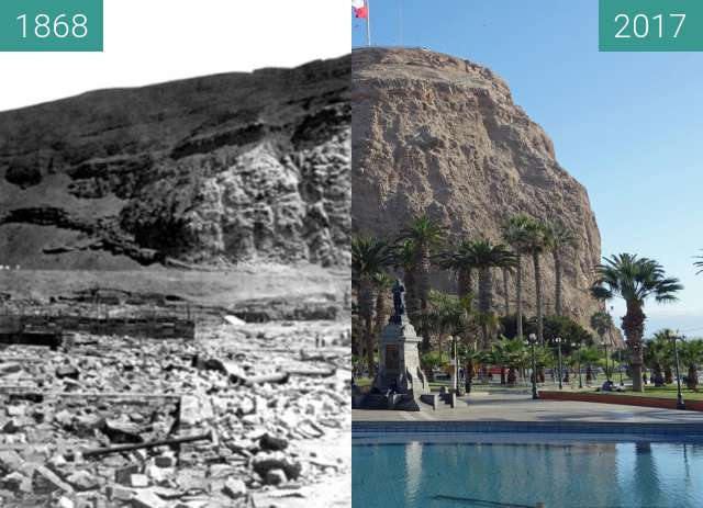 Before-and-after picture of MORRO DE ARICA between 1868 and 2017