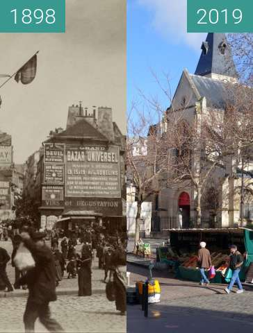 Before-and-after picture of Place St. Medard between 1898 and 2019-Feb-02